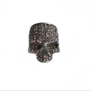 BCBG Silver Skull Rhinestone Ring